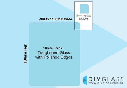 850mm High Glass Panels with No Holes