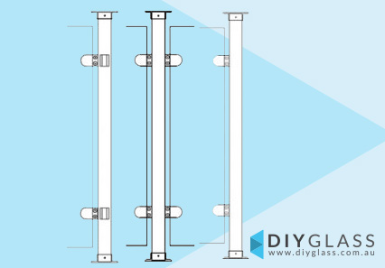 Round Glass Clamp Posts for Timber Top Rail