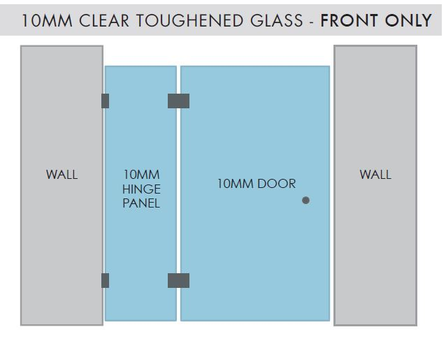 Shower Screen Hinge Panel and Door Configuration