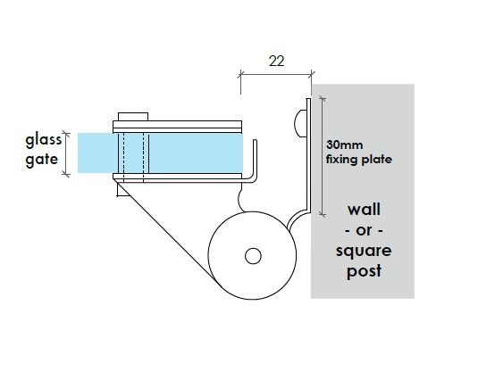 Glass Gate to Wall Hinges