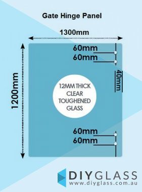 1300 X 1200 X 12mm Glass Pool Fence Hinge Panel Diy Glass