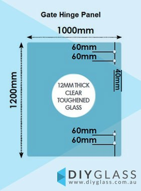 1000 x 1200 x 12mm Glass Pool Fence Hinge Panel