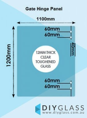 1100 x 1200 x 12mm Glass Pool Fence Hinge Panel