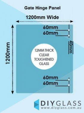 1200 x 1200 x 12mm Glass Pool Fence Hinge Panel