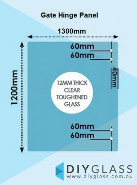 1300 x 1200 x 12mm Glass Pool Fence Hinge Panel