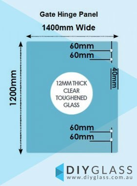 1400 x 1200 x 12mm Glass Pool Fence Hinge Panel