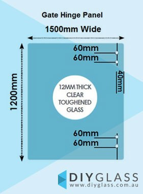 1500 x 1200 x 12mm Glass Pool Fence Hinge Panel