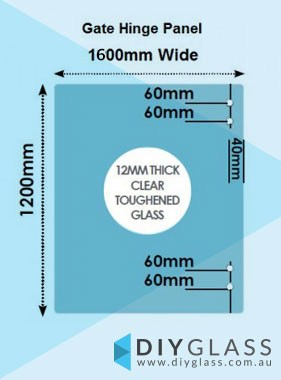 1600 x 1200 x 12mm Glass Pool Fence Hinge Panel