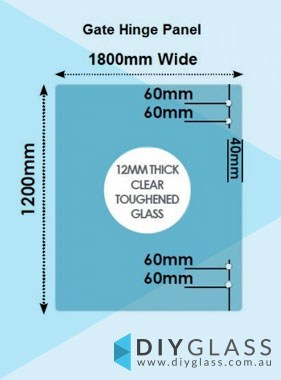 1800 x 1200 x 12mm Glass Pool Fence Hinge Panel