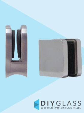 Square Front, Round Back Glass Clamp for Glass Balustrade / Pool Fence
