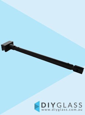 Glass to Wall Adjustable Brace Bracket - Matt Black -  For Glass Shower Screen