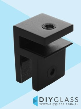 Small Glass Brace Bracket - Matt Black -  For Glass Shower Screen