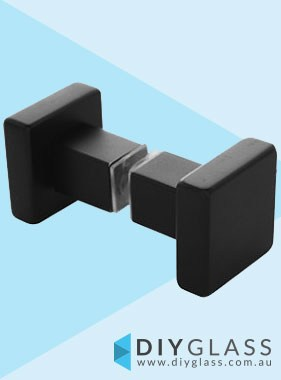 Square Recessed Matt Black Shower Screen Door Knob