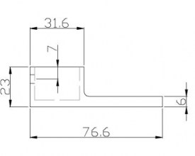 25x21mm Tube Extended Wall Bracket