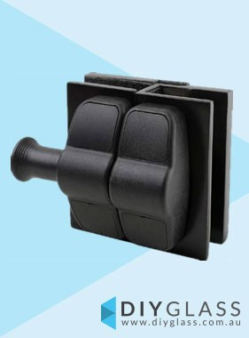 Black Glass to Glass in Straight Line Economy Pool Fence Gate Latch