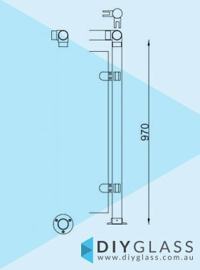 Corner Post - 2 Inch Round Glass Clamp Post for Stainless Rail
