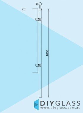 Corner Post - Core Hole - 1660mm 2 Inch Round Glass Clamp for Glass Pool Fence
