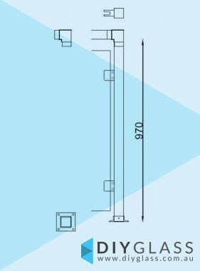 End Post - 50x50 Square Glass Clamp for Stainless Rail