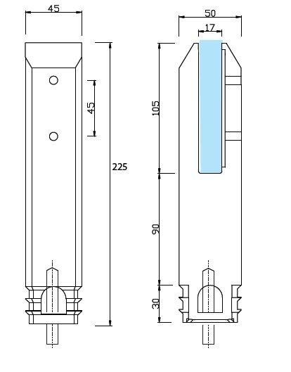 Square Core Hole Stainless Spigot for Glass Balustrade or Glass Pool Fence